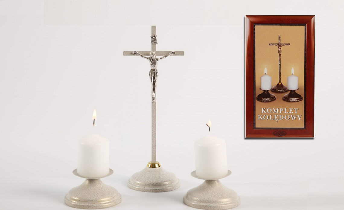 Świecznik Zestaw Kolędowy Metalowy - białe złoto KKM 002