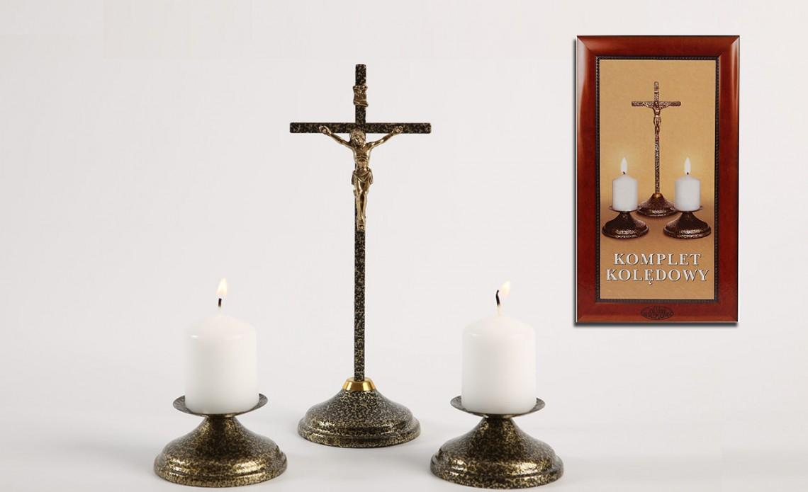Świecznik Zestaw Kolędowy Metalowy - złoto antyczne KKM 002